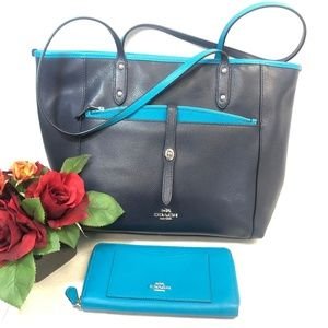 COACH Large Blue Tote with Pouch and Wallet
